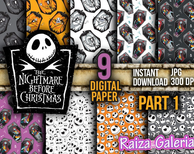 AWESOME Disney nightmare before christmas Digital Paper. Part 1 Instant Download - Scrapbooking - Jack Printable Paper Craft!