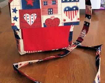 Red, White & Blue Print Cross-Body/Shoulder Bag