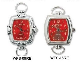 Silver Tone Watch Face/Timepiece with Colored Face and Loops for Beading and Crafts (only Blue & Red left)
