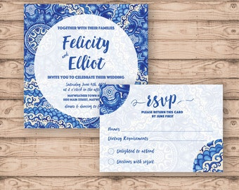 Blue Watercolour Rustic Wedding Invitation Suite - Print at Home Files or Printed Invitations - Personalised Wedding Invite Stationery Suite