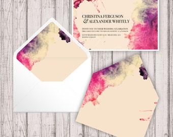 Envelope Liners - Digital - Print At Home -  Splashed in Envelope Liners - Printable Envelope Liners