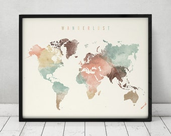 Wanderlust, World map watercolor print, pastel, world map poster, travel map, Large map, Gift, typography art, Home Decor, ArtPrintsVicky