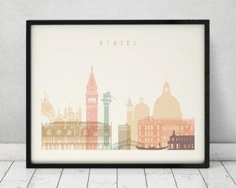 Venice print, Poster, Wall art, Venice skyline, Italian cityscape, City poster, Typography art, Home Decor, Digital Print, ArtPrintsVicky.