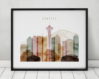 Seattle skyline, Seattle watercolor print, poster, Wall art, cityscape, City prints, Typography art, Home Decor, Travel, ArtPrintsVicky