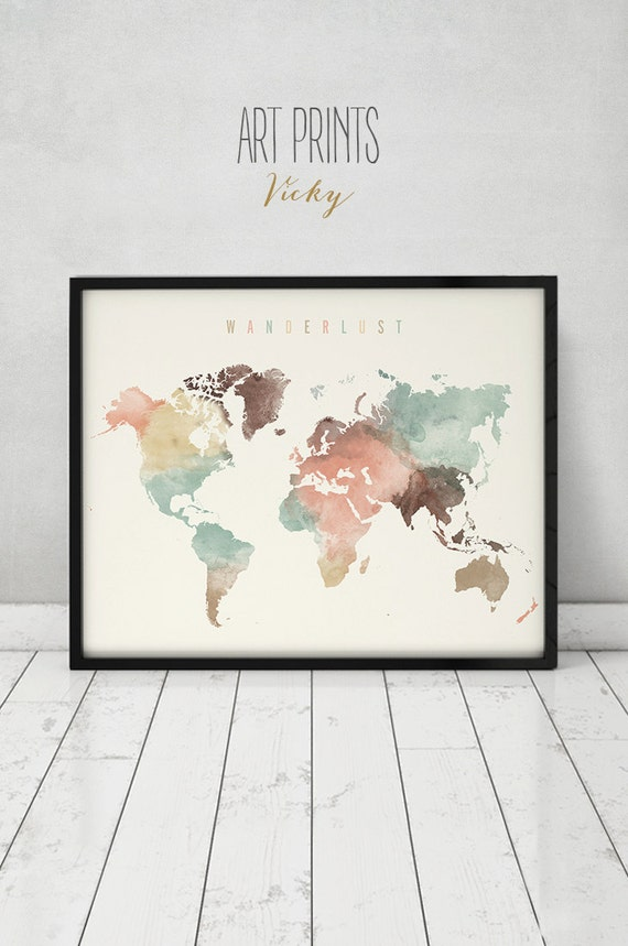 The world is your oyster wanderlust world map watercolor print world map poster travel map large map publicscrutiny Gallery