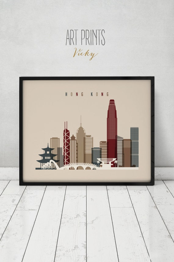 Hong Kong Wall Art Print Poster China Cityscape Hong Kong