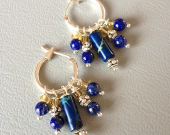 Short earcushions blue, Creole, Jasper and lapis lazuli earrings