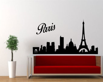 Paris Silhouette Sticker Decal For Bedroom or Wall France French Eiffel Tower Skyline
