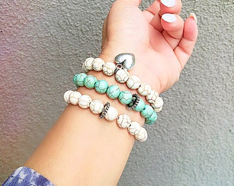 3 Stacked Stone Stretch Bracelet