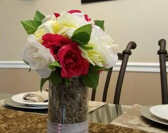 Assorted  Red and White silk flower arrangement