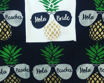 Hola Bride Hola Beaches Bachelorette Party Shirts Girls Weekend Shirt Bachelorette Tanks Bridal Party Tanks Bridesmaid Tanks Wedding Tanks