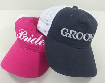 Bride hat and Groom hat matching set (set of 2) - Trucker Mesh Unstructured Hat