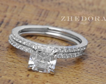 Princess Cut Engagement Ring Set Sterling Silver With Accent Bridal Set, Wedding Set, Wedding Band And Ring By Zhedora BGR01004