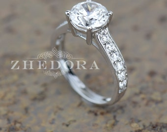 2.30 Round Cut Solitaire Engagement Wedding Ring Accent 14k White Gold Bridal Jewelry