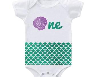 Mermaid 1st Birthday Onesie, Purple and Green Glitter