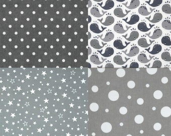 Baby Gift Set, Gender Neutral, Grey and White Flannel