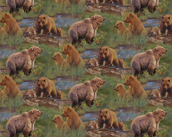 Wild Wings Bear Jagger Rock Fabric From Springs Creative Sold by the Yard