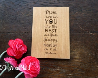 Mother's day Card Best Mom greeting card for Mom birthday Love You card Valentines Card for Mom Happy Mother's Day Card Wooden Greeting Card