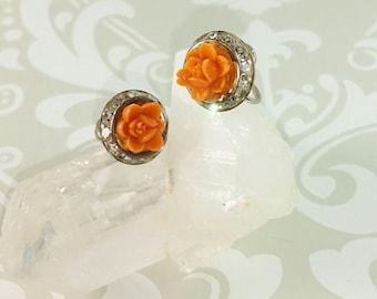 Vintage Screw Back Coral Rose Earrings