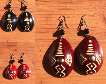 CALABASH DECORATED AFRICAN Earrings RLW395