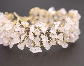 Rose Quartz chips gold filled wire crochet mesh bracelet, Crochet Mesh Cuff, pale pink bead Cuff