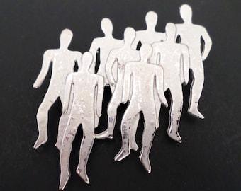 Vintage Silver Tone Unusual Walking Men's Group Brooch.