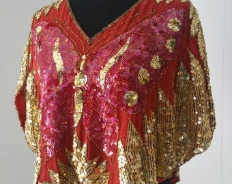 80s Silk Sequin Butterfly Top || Red and Gold