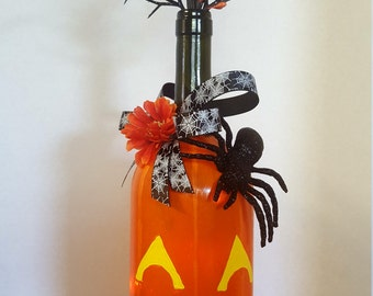 Jack O' Lantern lighted bottle