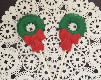 CHRISTMAS WREATH Chocolate Lollipop - Holiday Party/Party Favor/Christmas Wreath/Christmas Party