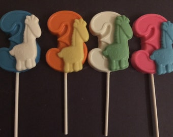 "NUMBER THREE ""GIRAFFE""  Chocolate Lollipops(12 qty) - Giraffe Favors/Party Favors/Safari Birthday/Third Birthday/Zoo Animals/Circus Theme"