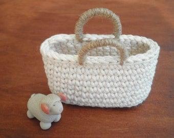 FREE SHIPPING, Small Tote Bag, Crochet Bag, Mini Tote, Natural Colors, Miniature Home Decor, Country Home Decor, Gift for Women, Cozy Decor