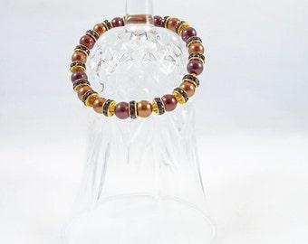 Brown Beaded Bracelet,  Gold Beaded Brown Bracelet, Gold Bracelet, Beaded Pearl Bracelet, Stretch Bracelet, Handmade Bracelet