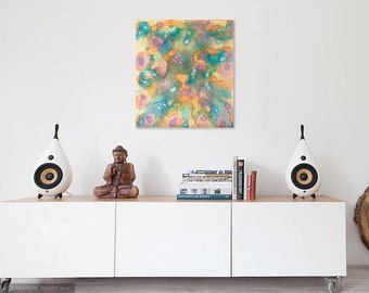 Abstract Painting, Gold, Bright, Boho