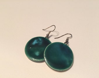 Emerald Green with Turquoise, Ceramic Earrings
