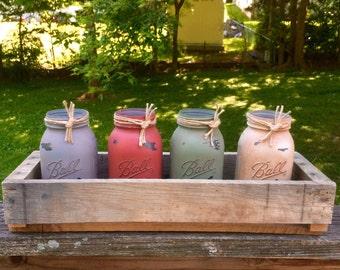 Rustic Mason jars, Mason Jars Centerpiece, Rustic Mason Jar Canisters, 4 Painted Mason Jars in Primitive Wood Box