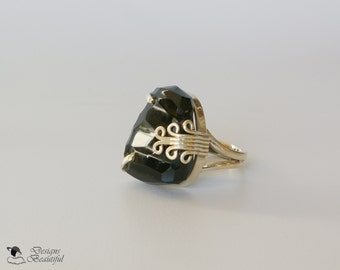 sterling silver ring featuring citrine accented by white