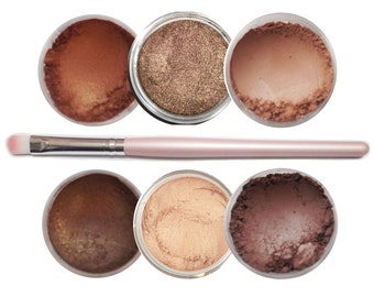 Ultimo Minerals THE BROWNS Pigments Eye Shimmer Shadow Liner Kit + Brush - Chemical Free - Gluten Free - Free Shipping!