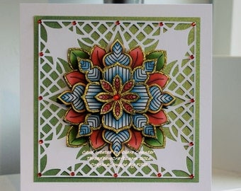 Red & Green Snowflake Medallion Christmas Card