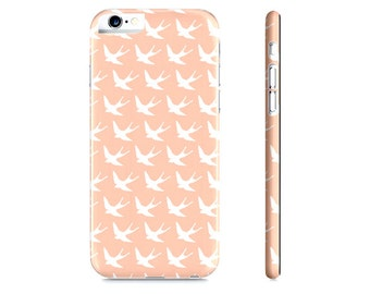 Birds iPhone Case - Pastel Peach iPhone Case - Birds iPhone 6 Case - Peach Bird iPhone Case - Pastel Phone iCase - The Mad Case