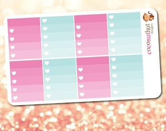 Pink & Blue Ombre Heart Checklist Planner Stickers (Erin Condren Life Planner Monthly Colors)
