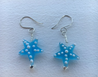 Blue and white star earrings