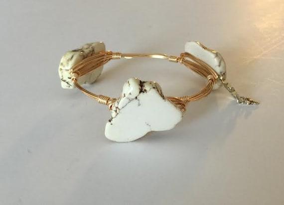 White Bangle Bracelet, Wire wrapped bangle