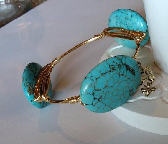 SALE, Turquoise Bangle Bracelet, Turquoise Bangle, Wire wrapped bangle bracelet, Handmade Bangle, New Year Sale