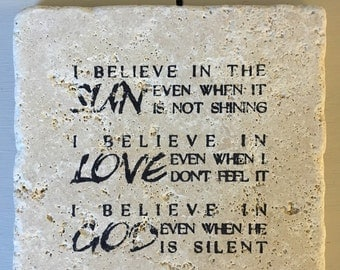 "Inspirational quote ""I believe..."" stone coaster set"