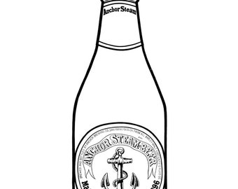 Anchor Steam Beer bottle - Hand-drawn illustration print