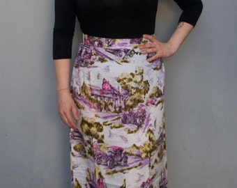 Gorgeous Vintage 1970s DEADSTOCK purple and white high waisted maxi skirt BRAND NEW