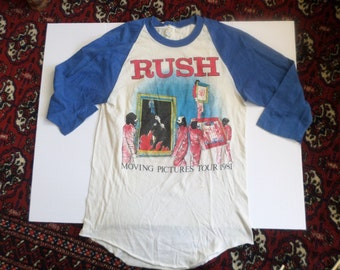 Authentic Vintage '80s RUSH Moving Pictures concert T-Shirt Jersey blue sleeves M Usa