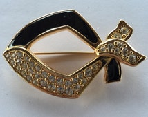 Retired Swarovski Black Enamel and Crystal Ribbon Pin