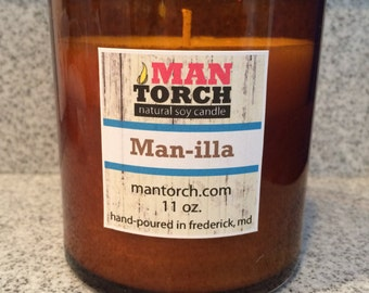 Vanilla // Man-illa // Natural Soy Tin Candle // 11oz Tumbler // Handcrafted Soy Candle // Wedding Favor // Candle Favor