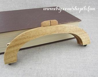 20cm Wooden Purse Frame Wood Clutch Bag Handle - Natural Color - one piece